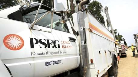 A PSEG Long Island truck along Montauk Highway