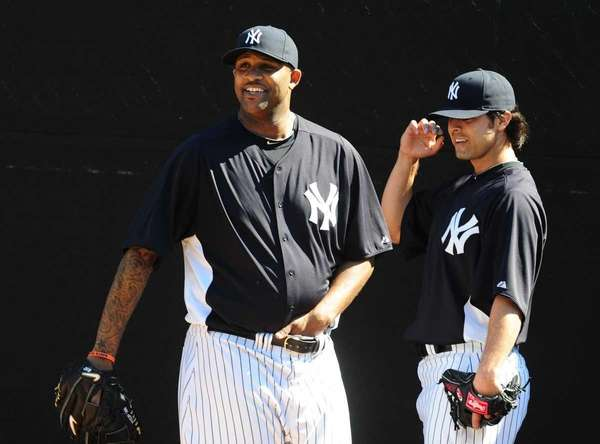 New York Yankees CC Sabathia and Sergio Mitre