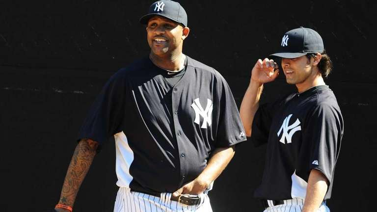 New York Yankees CC Sabathia and Sergio Mitre