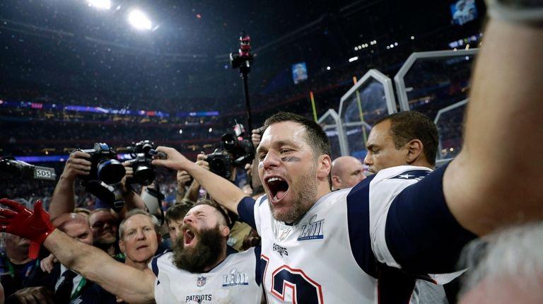 The Patriots' Julian Edelman, left, and Tom Brady