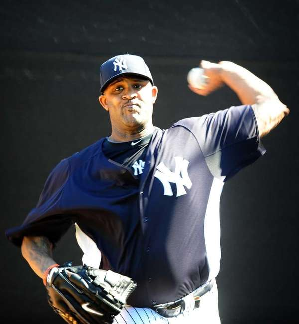 CC Sabathia throws a bullpen session on the