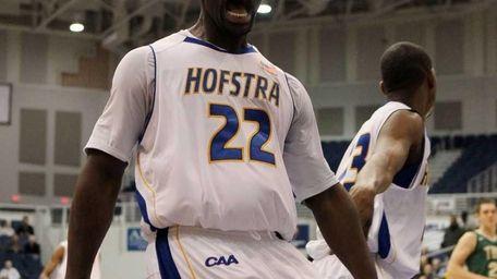 Charles Jenkins of Hofstra celebrates a basket against