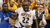 Hofstra's Charles Jenkins celebrates after hitting the game-winning