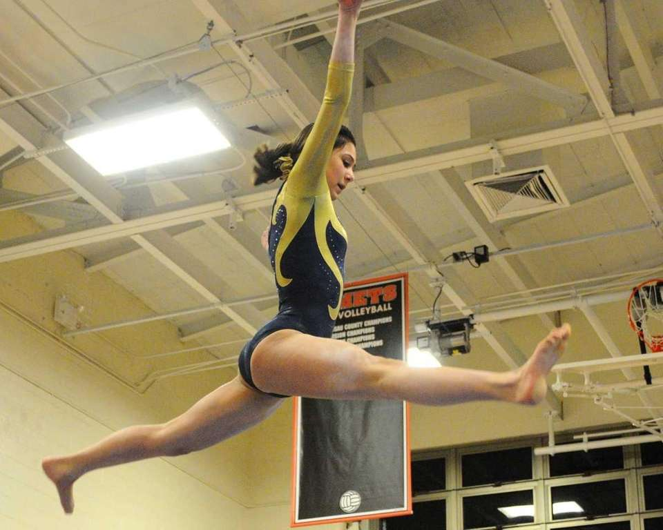 Bethpage's Sarah Ciresi performs her balance beam routine.