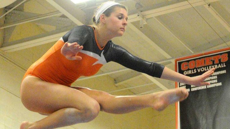Hicksville's Lauren Cecco performs her balance beam routine