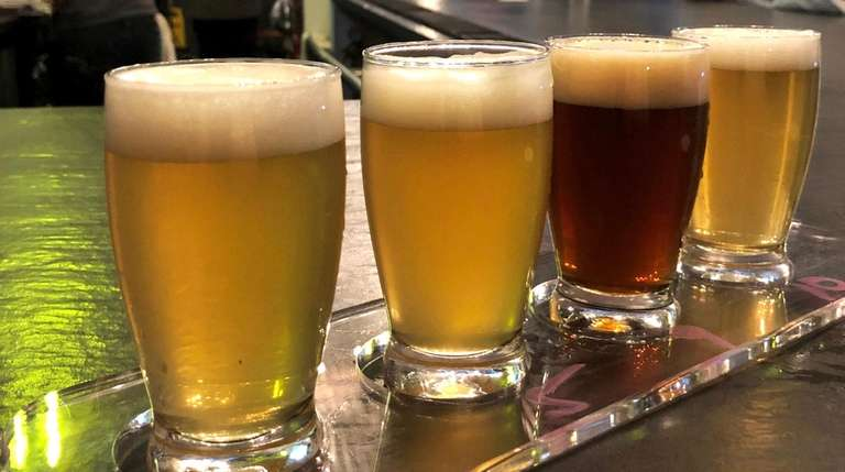 A beer sampling flight at Patchogue Beer Project,