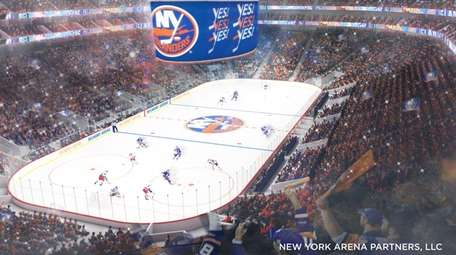 A rendering of the proposed Islanders arena at