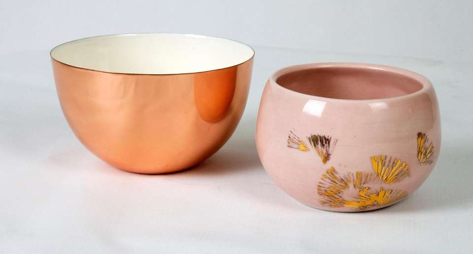 Metallic bowls simple, $25, and adorned with design,