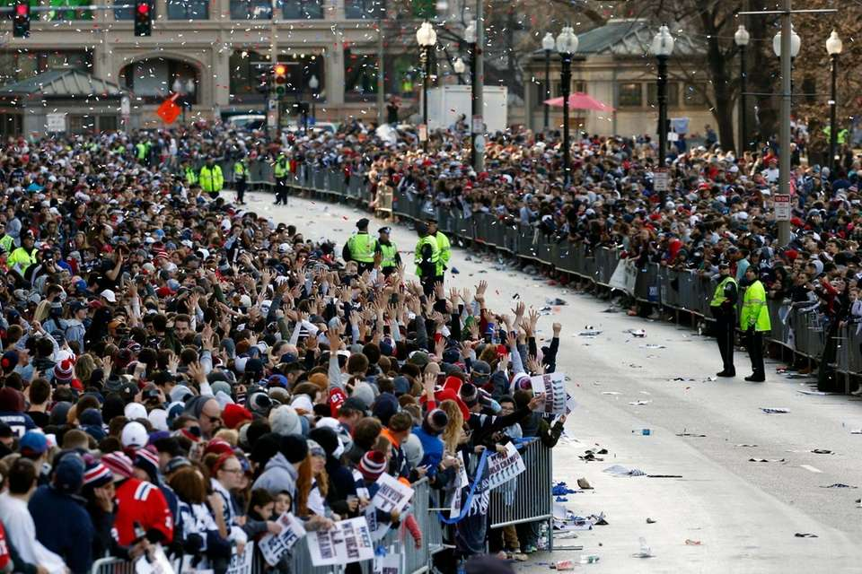 Fans line Tremont Street before the New England