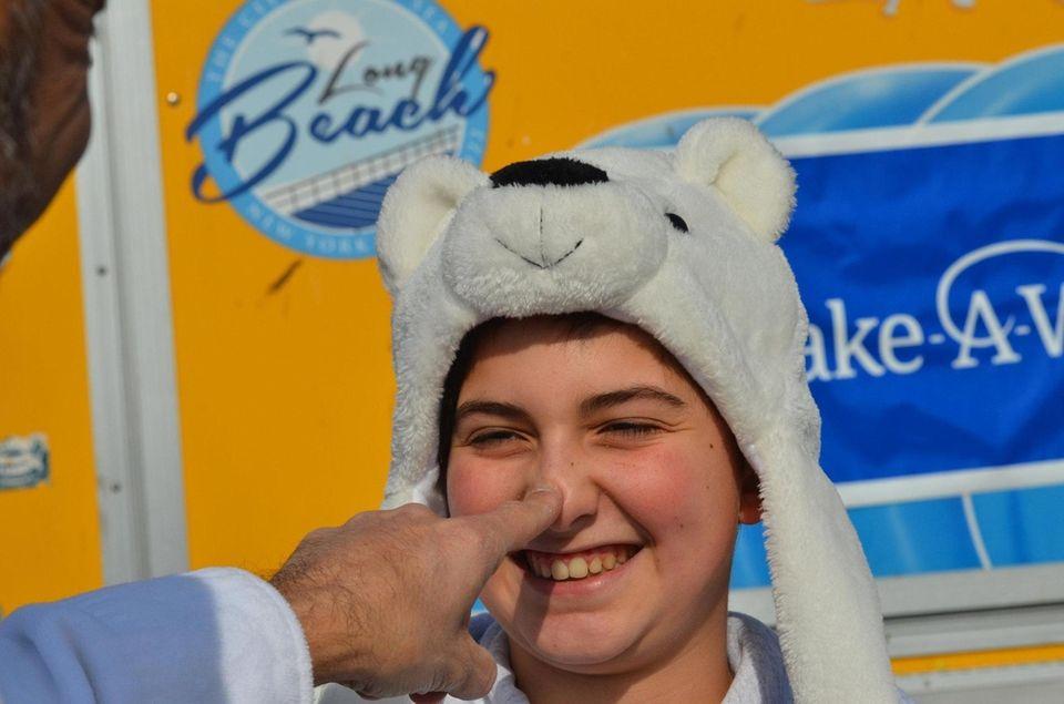 Jack Fenech ,12, of Shoreham, goes in for