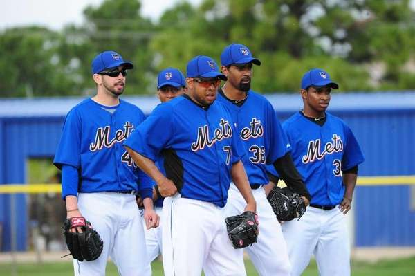 Mets pitchers (L-R) Oliver Perez, Francisco Rodriguez, Manny