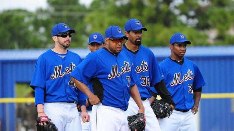 Mets pitchers (L-R) Oliver Perez, Francisco Rodriguez, Manny
