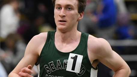 Seaford's Jason Linzer wins the boys 3,200-meter in