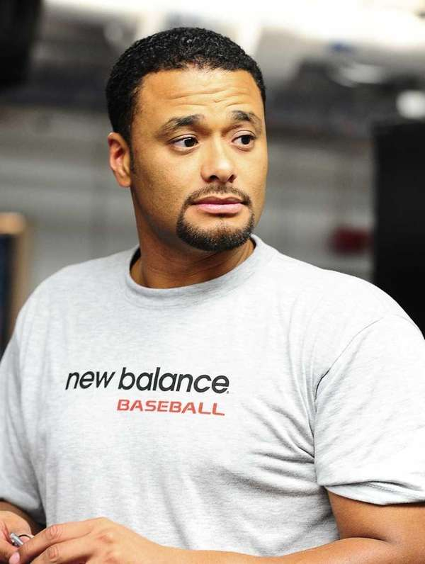 Mets pitcher Johan Santana in the Mets clubhouse