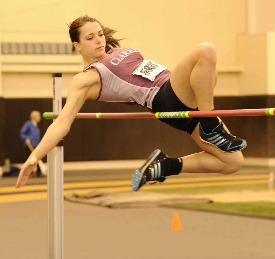 Clarke's Nicole Hertzberg competes in the high jump