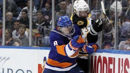 Bruno Gervais #8 of the New York Islanders