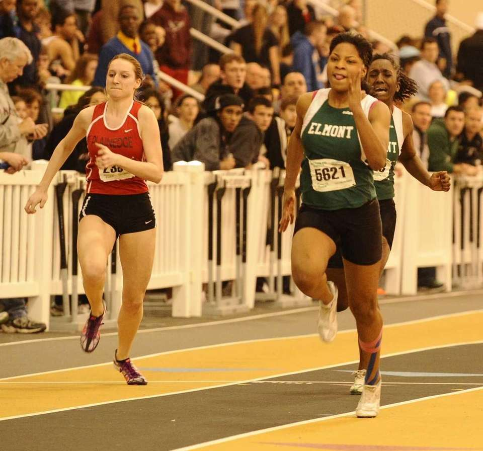 Elmont's Valencia Hannon, right, won the 55 meter