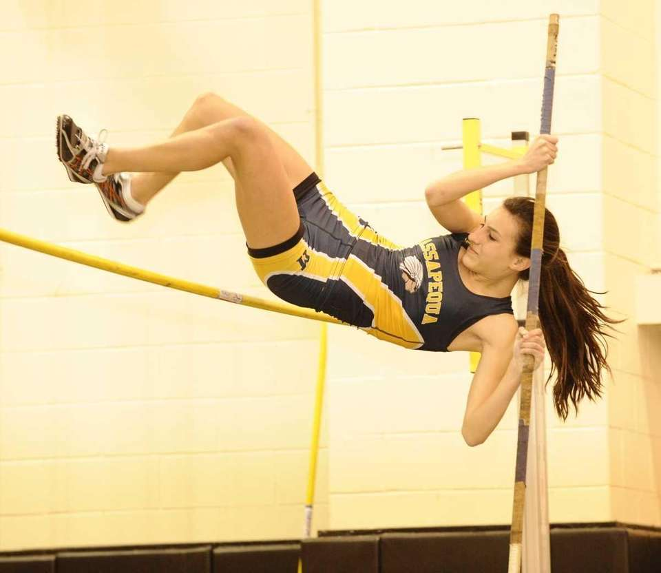 Massapequa's Julia Batista clears 18 feet in the