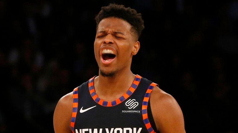 Knicks guard Dennis Smith Jr. reacts after a