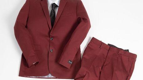 This stylish burgundy suit jacket, $228, and matching