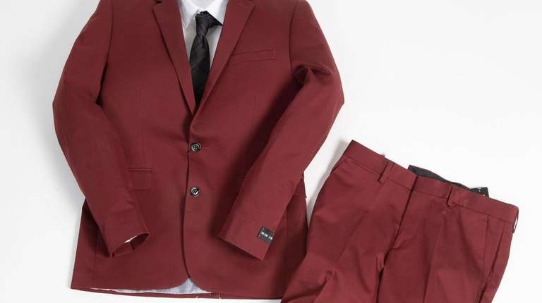 This stylish burgundy suit jacket, $228, and matching