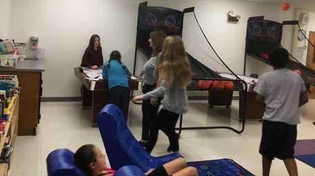 Kidsday reporters enjoy the game room at Bretton