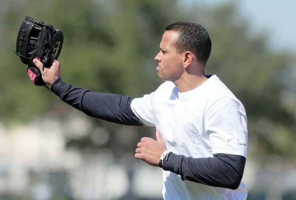 New York Yankees third baseman Alex Rodriguez waves
