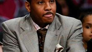 Carmelo Anthony of the Denver Nuggets watches the