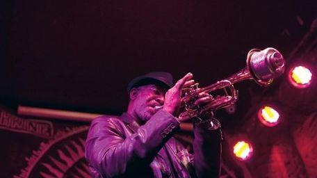 Lu Reid plays trumpet at the Shrine