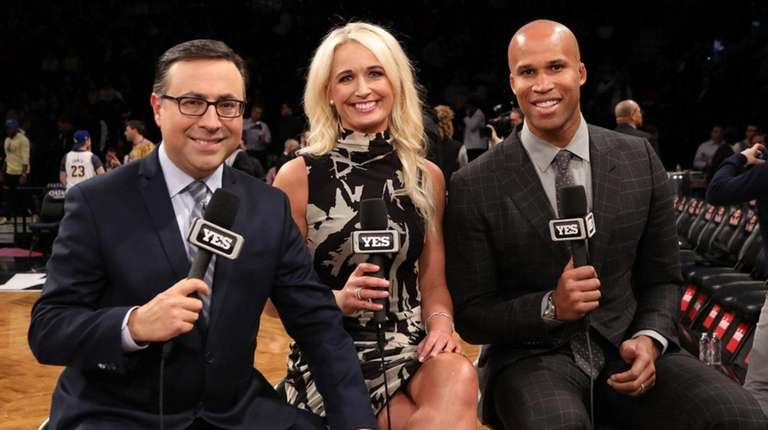 Nets announcers Ian Eagle, Sarah Kustok and Richard