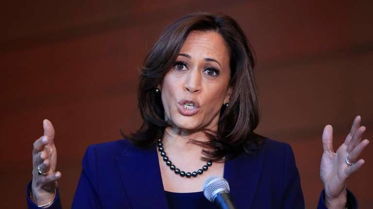 Sen. Kamala Harris, D-Calif., speaks to members of