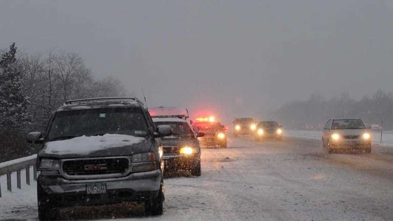 Motorists make their way along the eastbound lanes