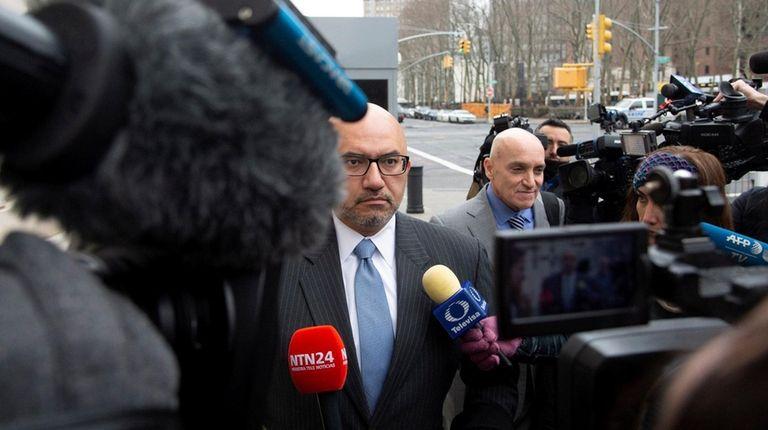 "Eduardo Balarezo, left, an attorney for Joaquin ""El"