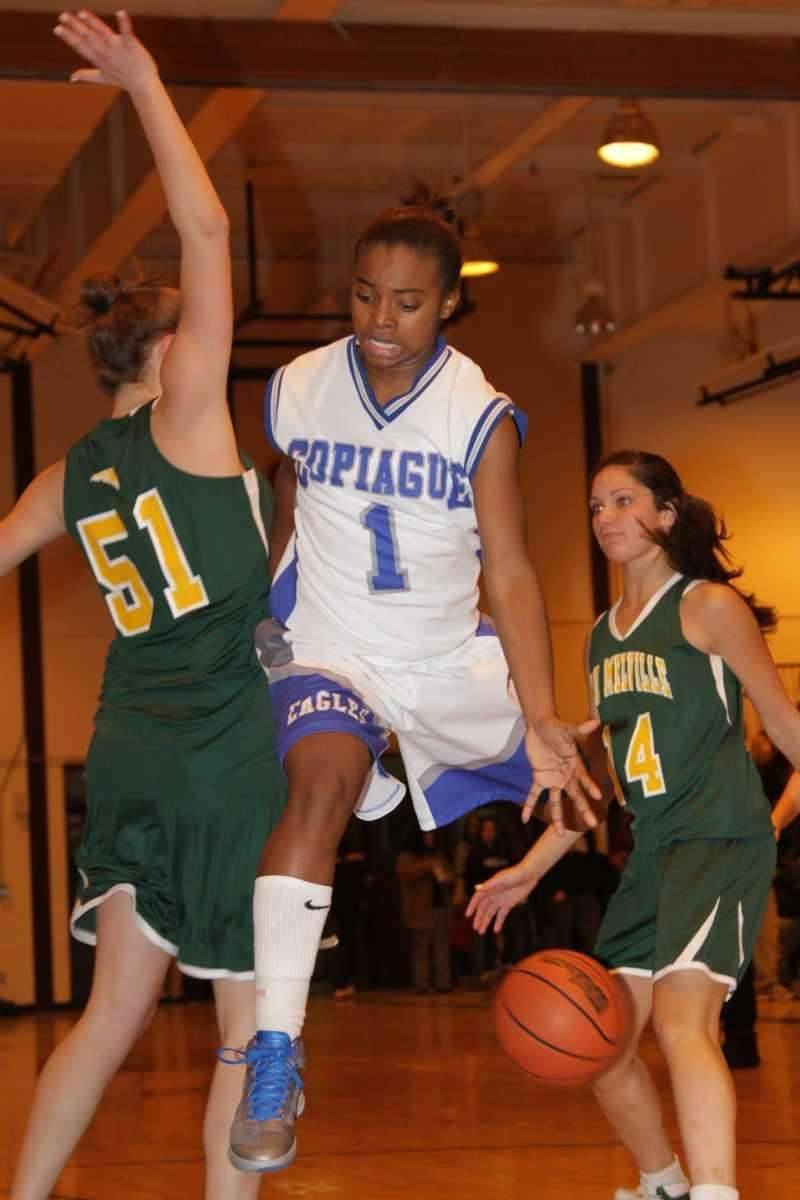 Copiague's Domyae Ivory-Byrd loses possesion of the ball