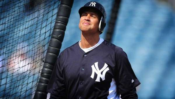 Yankees third baseman Alex Rodriguez takes batting practice