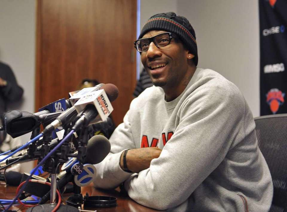 The Knicks' Amar'e Stoudemire smiles during a news