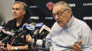 Knicks president of basketball operations Donnie Walsh, right,