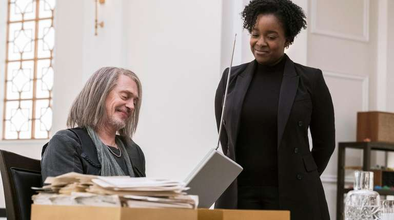 "Steve Buscemi and Lolly Adefope in ""Miracle Workers."""