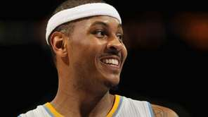 Carmelo Anthony #15 of the Denver Nuggets looks