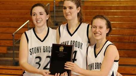 Stony Brook's Brannon Burke, left, Natalie Istrati, center,
