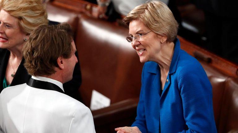 Sen. Elizabeth Warren, D-Mass., arrives for President Donald