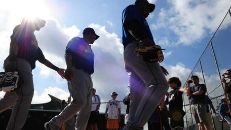 Mets players during a spring training workout at