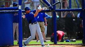 Carlos Beltran during today's spring training workout at