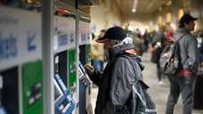 A Long Island Rail Road commuter purchases a