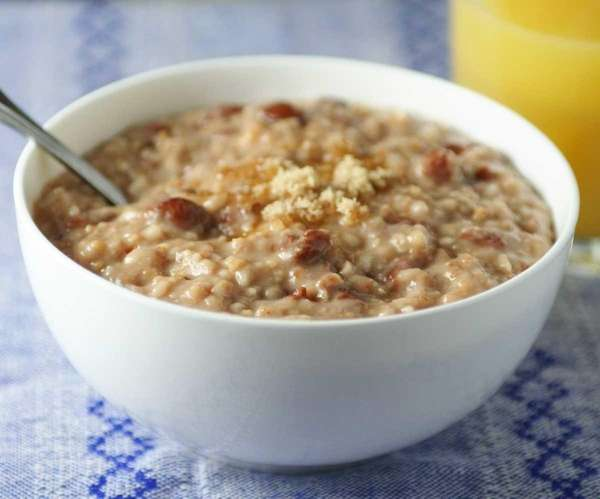 Overnight oatmeal with cherries and brown sugar.