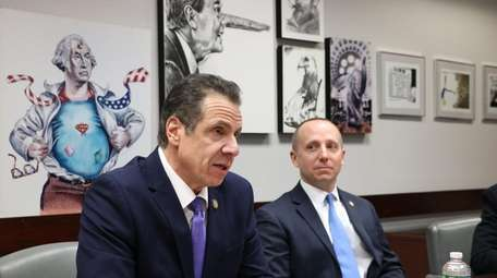 Gov. Andrew Cuomo visits the Newsday Editorial board