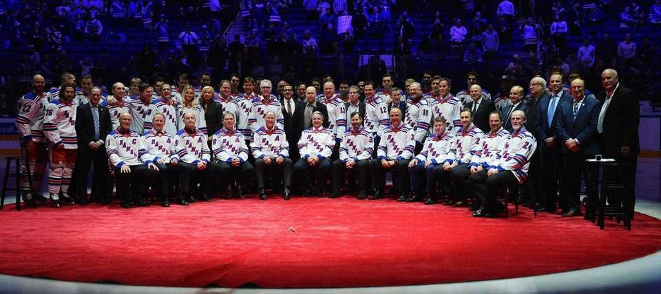 The New York Rangers celebrate the 25th Anniversary