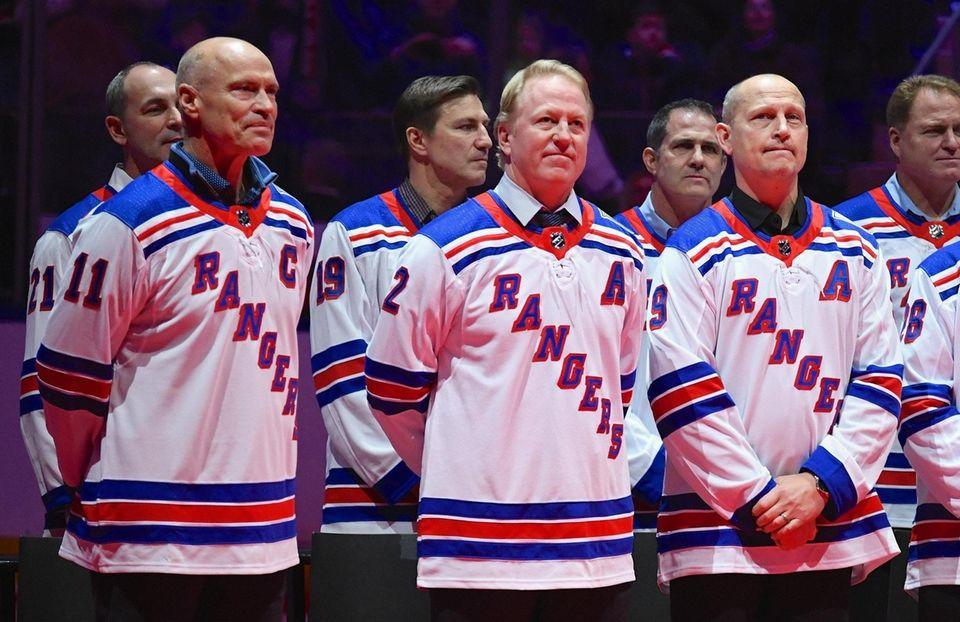 Former New York Rangers Mark Messier, Brian Leetch
