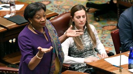 Senate Majority Leader Andrea Stewart-Cousins (D-Yonkers) explains her