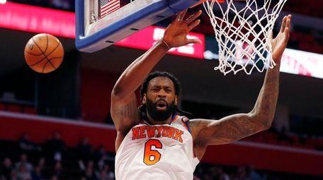 Knicks center DeAndre Jordan misses a dunk during